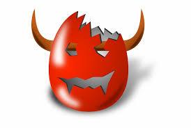 Red Cartoon Eggs Egg Easter Broken Devil Horns - Clip Art Library