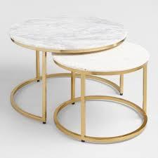 ayva round white marble brass nesting