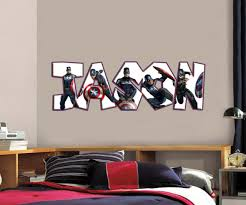 Captain America Personalized Name Custom Decal Wall Sticker Marvel Avengers Wp23 For Sale Online