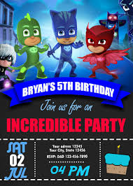 Blue Catboy Pj Masks Birthday Invitation Convite De Aniversario
