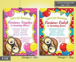 Curious George Birthday Invitation Girl Monkey Birthday Invite