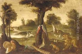 eve in the garden of eden oil painting
