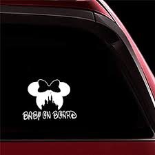 Amazon Com Ytedad Car Sticker Car Decal 13x10cm White Minnie Mouse Baby On Board Car Decal Art Car Body Window Door Rear Windshield Home Kitchen