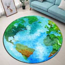 World Map Home Decor Round Carpet Flooring Area Rug Bedroom Kids Play Yoga Mat