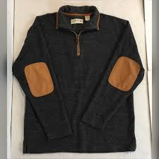 sweater 14 zip leather elbow patches