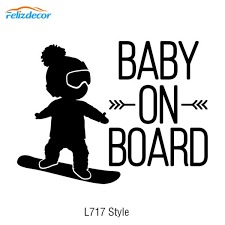 16 12cm White Black Baby On Board Car Decal Boy On Snowboard Vinyl Car Stickers Cool Car Window Decor Hot Selling L717 Shop The Nation