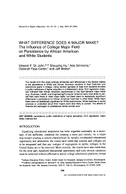 What Difference Does a Major Make? The Influence of College Major Field on  Persistence by African American and White Students
