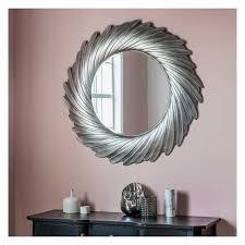 large round silver swirl mirror 100cm