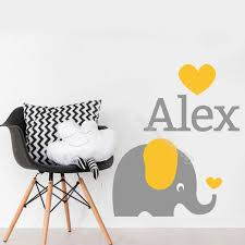 Personalized Custom Name Elephant Wall Decal For Baby Kids Room Nursery Boys Girls Name Vinyl Two Colors Sticker Wallpaper Ea934 Wall Stickers Aliexpress