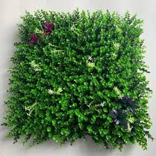 China Uv Resistant Durable Fireproof Artificial Grass Leaf Fake Plant Foliage Garden Hedge Fence Screen Privacy Vertical 3d Green Wall Panel China Garden Green Wall And Artificial Plant Wall Price