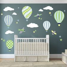 Balloon Decal Plane Wall Stickers Yellow Stars And White Clouds Boys Nursery Toddler Gifts Blue And Green Baby Shower Yellow And Grey Baby Room Wall Stickers Baby Boy Room Nursery Nursery
