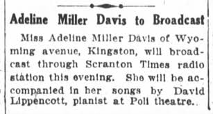 Adeline Miller Davis on Radio, Jan. 1925 - Newspapers.com