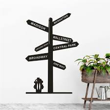 New York Broadway Road Sign Wall Sticker City Streets Signpost Removable Wall Decal Home Decoration One Way Vinyl Poster Az730 Wall Stickers Aliexpress
