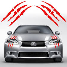 Amazon Com Ygmoner Pair Of Die Cut Monster Claws Scratch Headlight Decal Vinyl Sticker Red Automotive