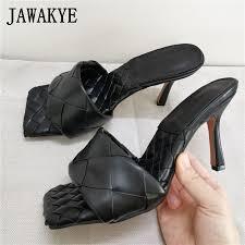 black braid leather mules designer