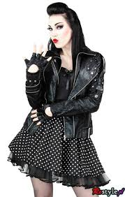 the leather jacket with a 50 s dress