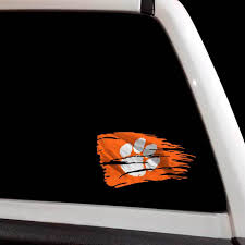 Tattered Clemson Tigers Paw Flag Football Decal