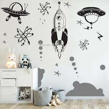 Waliicorners Hot Selling Retro Outer Space Decal Atomic Rocket Ship Wall Vinyl Decals Diy Self Adhesive Bedroom Home Decoration Set Lc1799 Waliicorner S Store
