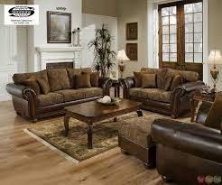 chenille and leather living room sofa