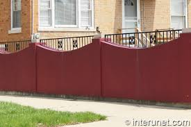 Concrete Fence Painted Red Interunet
