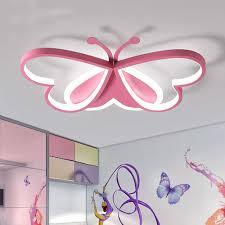 Lakiq Lovely Butterfly Led Flush Mount Ceiling Light For Kids Room Modern Iron And Acrylic Led Ceiling Lamp Close To Ceiling Light Fixture For Bedroom Living Room Pink White Light