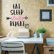 Amazon Com Funny Wall Art Eat Sleep Study Repeat Study Wall Decor Medical Student Gifts Wall Decals For Home Decor Bedroom Playroom Or Study Area Handmade