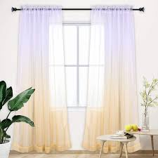 Amazon Com Ombre Light Yellow Semi Sheer Curtain Window Panel With Sun Light Filtering Iridescent Shades Hue Effect Drapes Voiles For Livig Room Bedroom Gilrs Room Kids Room Backdrop Wedding Decoration Kitchen