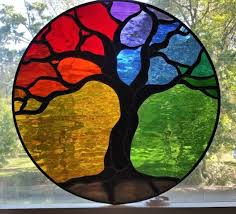 tree of life stained glass panel