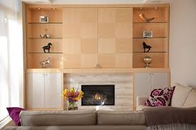 built in wall units with fireplace and