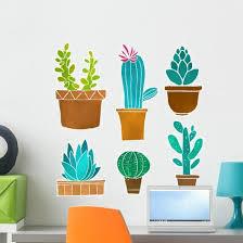 Six Cacti Cactus Wall Decal Sticker Set Wallmonkeys Com
