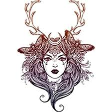 Amazon Com Pretty Wilderness Forest Moon Goddess With Antlers 1 Vinyl Decal Sticker 4 Tall Arts Crafts Sewing