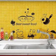Cartoon Cute Happy Kitchen Food Wall Sticker Living Room Kitchen Restaurant Home For Sale Online