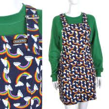 rainbow print pinafore dungaree dress