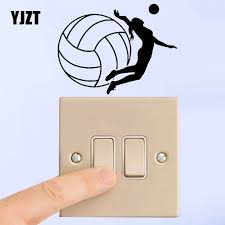 Yjzt Girl Playing Volleyball Sport Team Volleyball Player Vinyl Decal Switch Sticker Personality Decor 8ss2279 Leather Bag