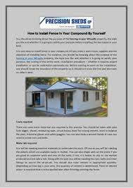 How To Install Fence In Your Compound By Yourself