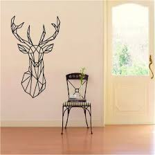 Shop Geometric Deer Head Wall Sticker Geometry Animal Series 3d Vinyl Wall Art Home Decor Online From Best On Jd Com Global Site Joybuy Com