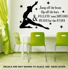 Follow Your Dreams Gymnastics Wall Art Sticker Vinyl Decal Various Siz Vinyl Lady Decals