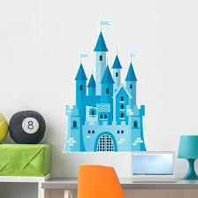 Cute Blue Princess Castle Wall Decal Wallmonkeys Com