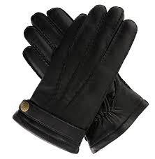 fur lined black leather gloves