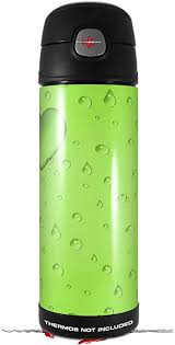 Amazon Com Skin Decal Wrap For Thermos Funtainer 16oz Bottle Raining Neon Green Bottle Not Included By Wraptorskinz Kitchen Dining