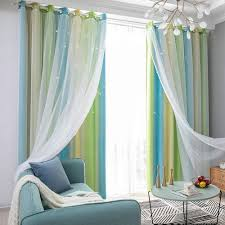 Amazon Com Decdeal Star Curtains Stars Blackout Curtains For Kids Girls Bedroom Living Room Colorful Double Layer Star Window Curtains 1 Panel Home Kitchen