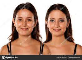 models without makeup before and after
