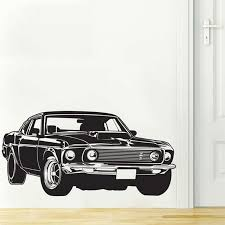Shelby Gt Ford Mustang Muscle Racing Car Wall Decal Art Home Decor Vinyl Wall Sticker 2 Sizes Vinyl Wall Stickers Wall Stickercar Wall Decal Aliexpress