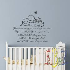 Amazon Com Wall Decal Winnie The Pooh Quote Always Remember You Are Braver Than You Believe Classic Pooh Nursery Decor Baby Kids Room Wall Art Q292 Baby