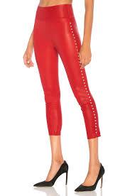 SPRWMN Dome Stud Capri Leather Legging in Red | REVOLVE