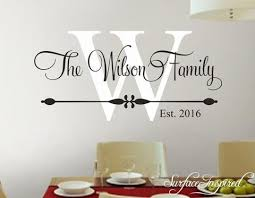 Personalized Family Name Monogram Wall Decal Vinyl Wall Art Wilson Fam Surface Inspired Home Decor Wall Decals Wall Art Wooden Letters