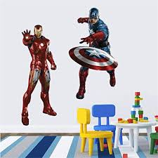 Amazon Com 5070 Cm The Avengers Iron Man Wall Sticker For Kid Children S Roomhome Decals Background Wallsticker Kitchen Dining