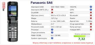 Panasonic SA6 Dane techniczne telefonu ...