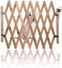 Wooden Expanding Fence Pet Gate Pet Fence Mobile And Movable Fence Retractable Dog Sliding Door For Indoor Foldable Pet Safety Gate Barrier Guard Door Fence For Small Medium Dog Amazon Co Uk Kitchen