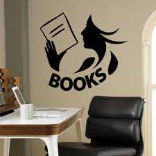 Books Wall Decal Library Reading Room Book Shop Kids Bedroom Interior Decor Door Window Vinyl Sticker Read Girl Art Mural Q849 Wall Stickers Aliexpress